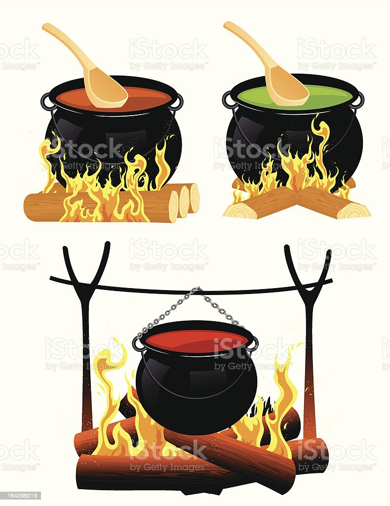 Cauldron set vector art illustration