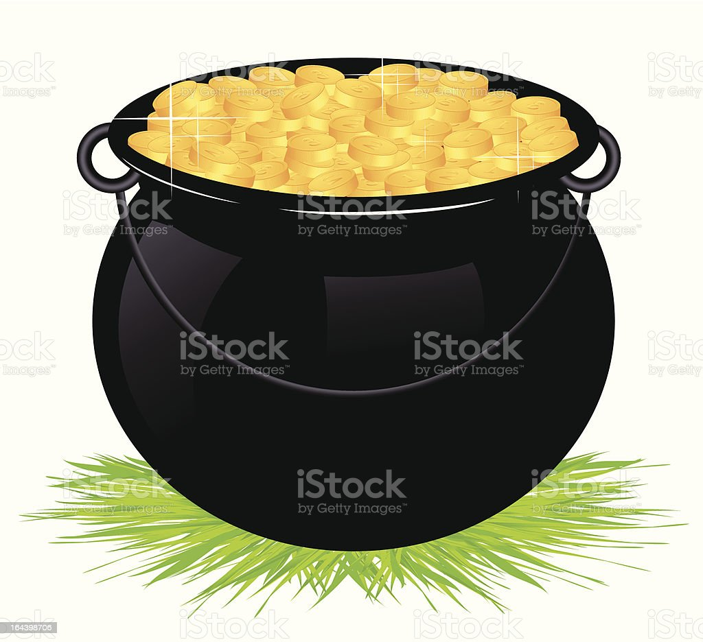 Cauldron with money isolated royalty-free stock vector art