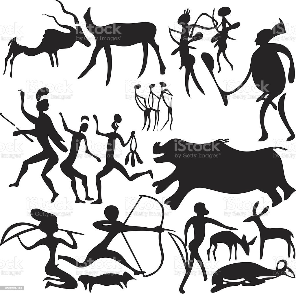 Cave painting. vector art illustration