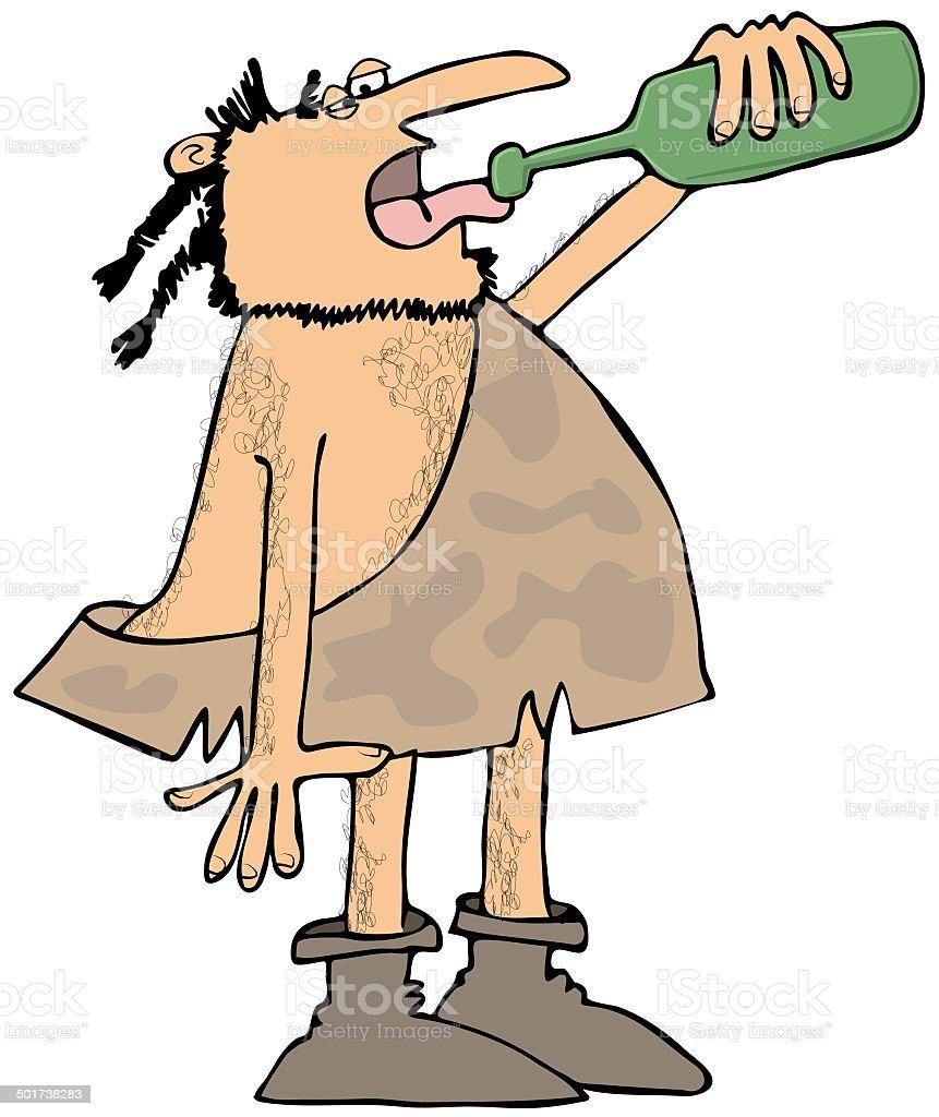 Caveman drinking wine royalty-free stock vector art
