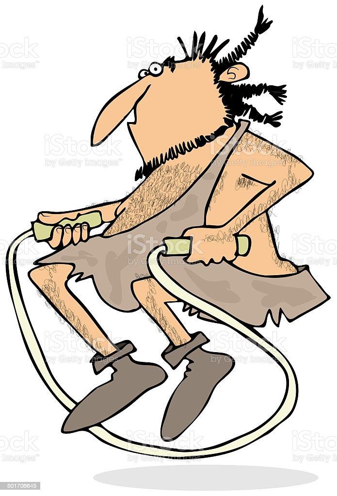 Caveman jumping rope royalty-free stock vector art