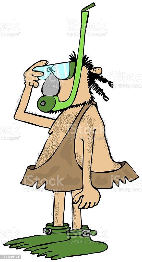 Caveman snorkeler royalty-free stock vector art