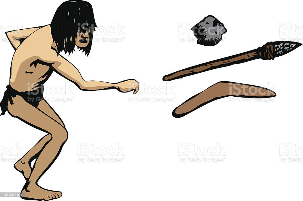 Caveman throws a weapon illustration : Istockphoto