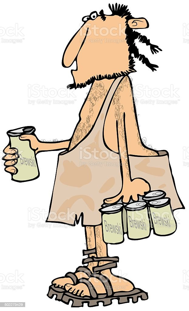 Caveman with a six-pack royalty-free stock vector art