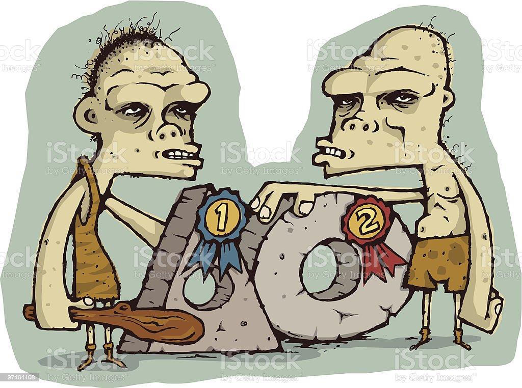 Cavemen Contest royalty-free stock vector art