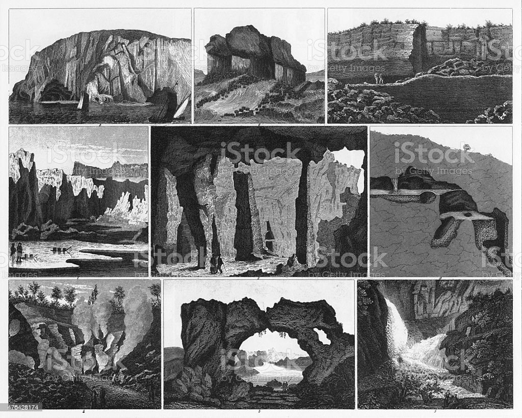 Caves, Icebergs, Lava and Rock Formations Engraving vector art illustration