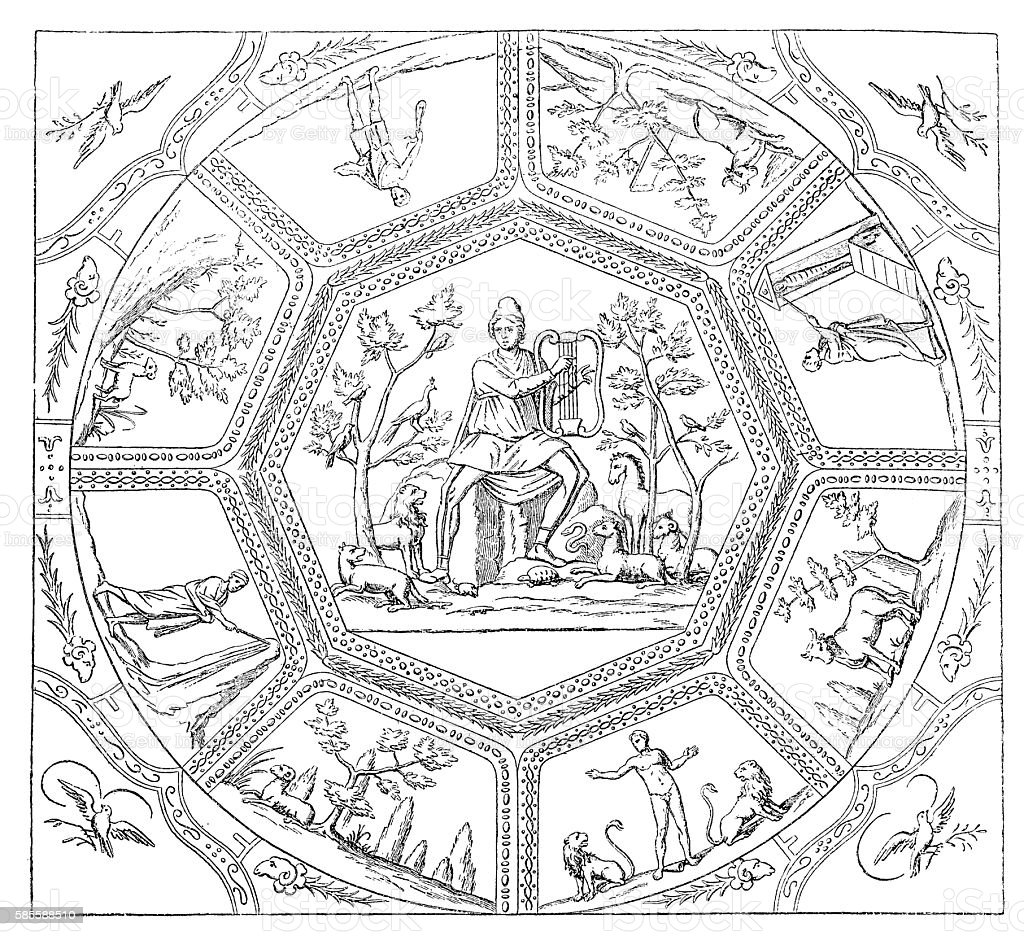 Ceiling Painting From Catacomb Of St. Callixtus, Rome vector art illustration