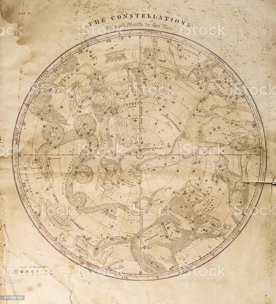 Celestial Map 1856 vector art illustration