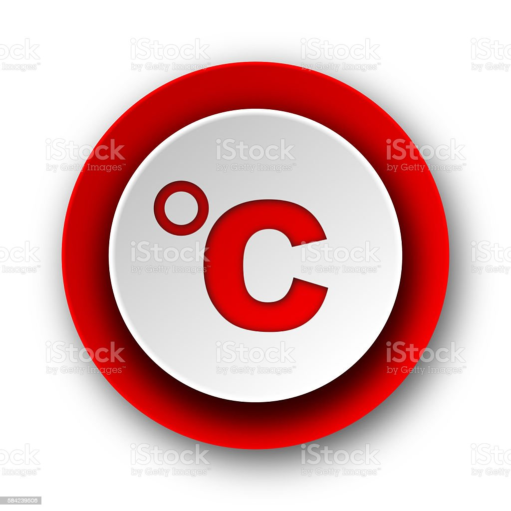 celsius red modern web icon on white background stock photo
