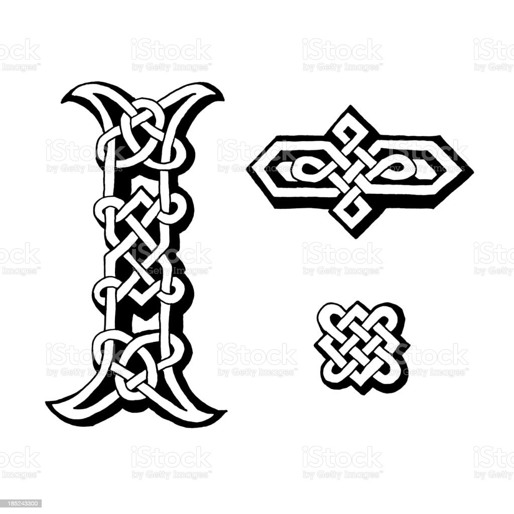 Celtic letter I and dingbats royalty-free stock vector art