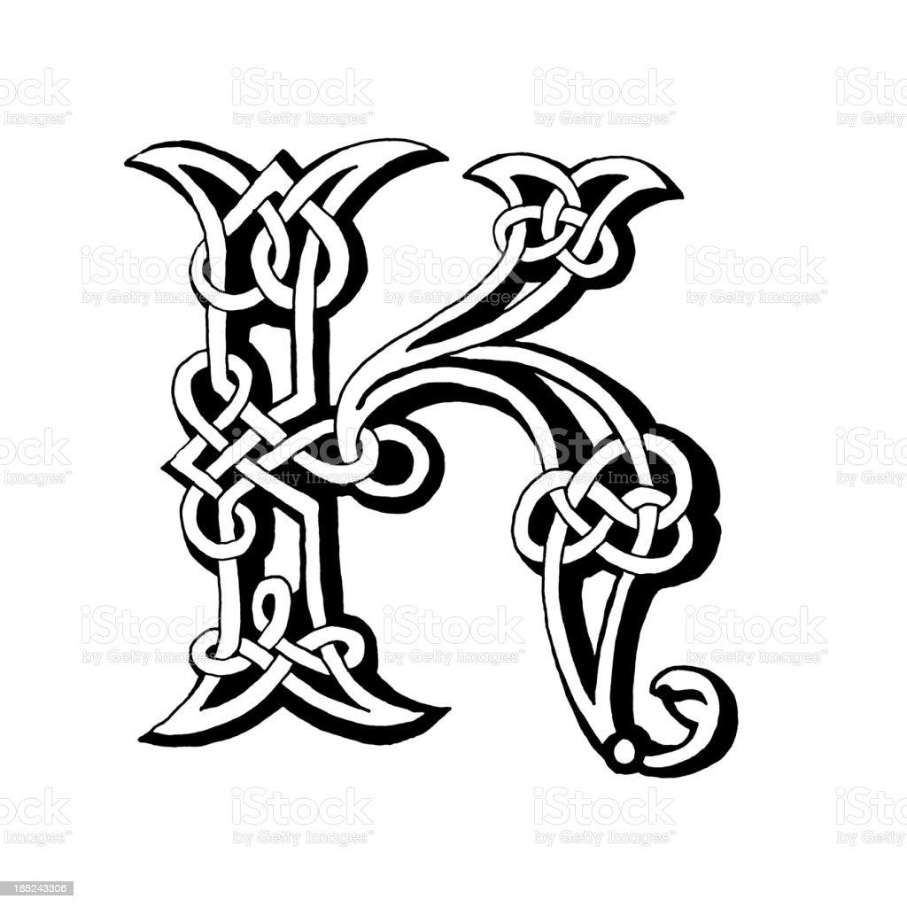 Celtic letter K royalty-free stock vector art