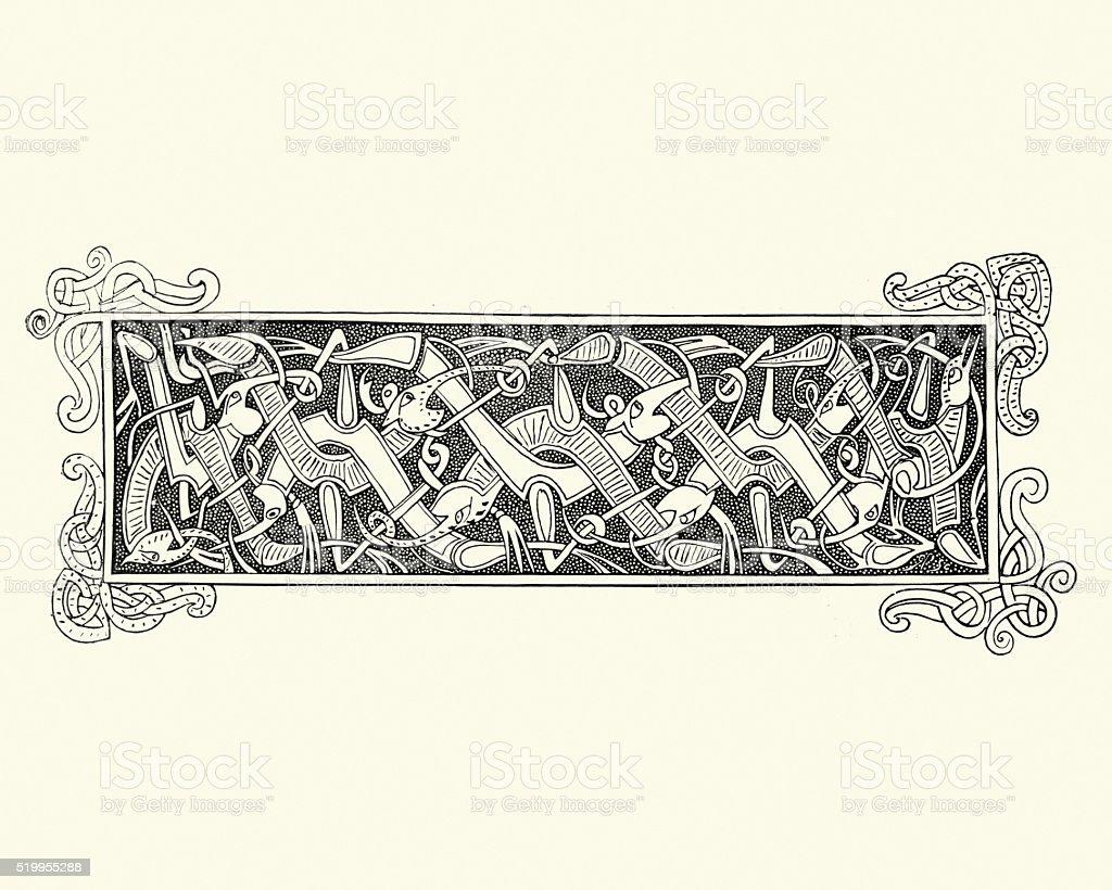 Celtic style banner vector art illustration