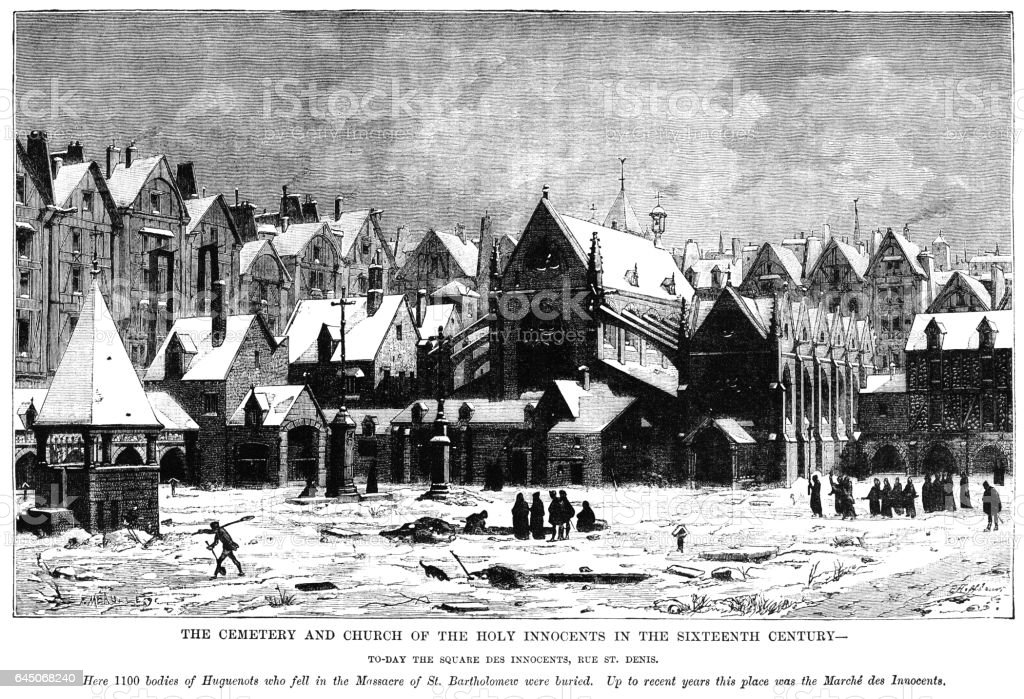 Cemetery and Church of The Holy Innocents, Paris, 16th century vector art illustration