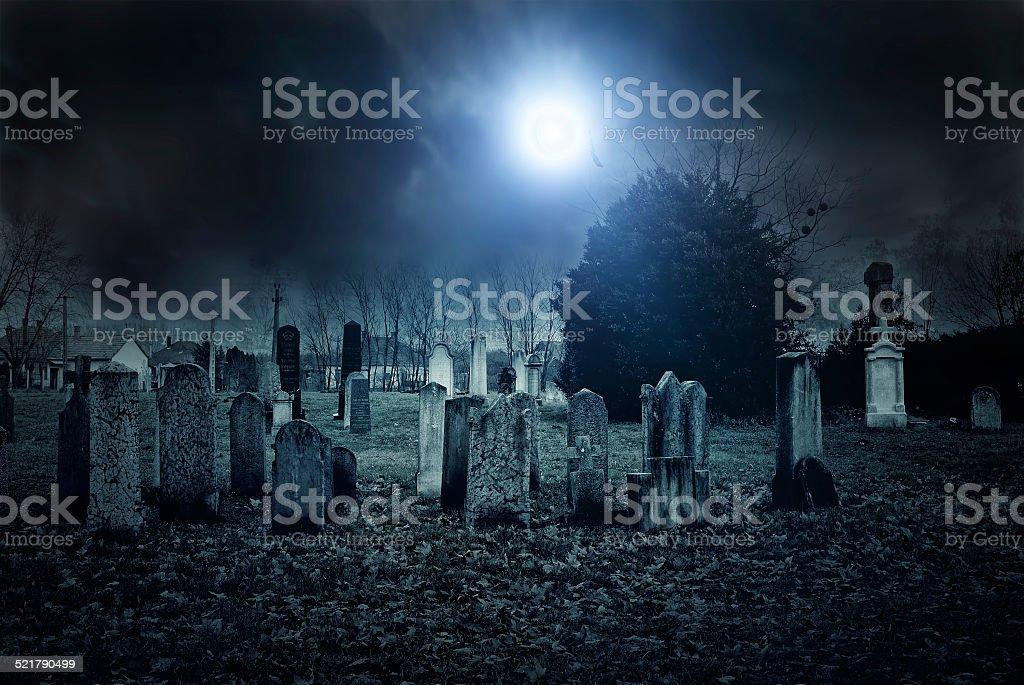 Cemetery night vector art illustration