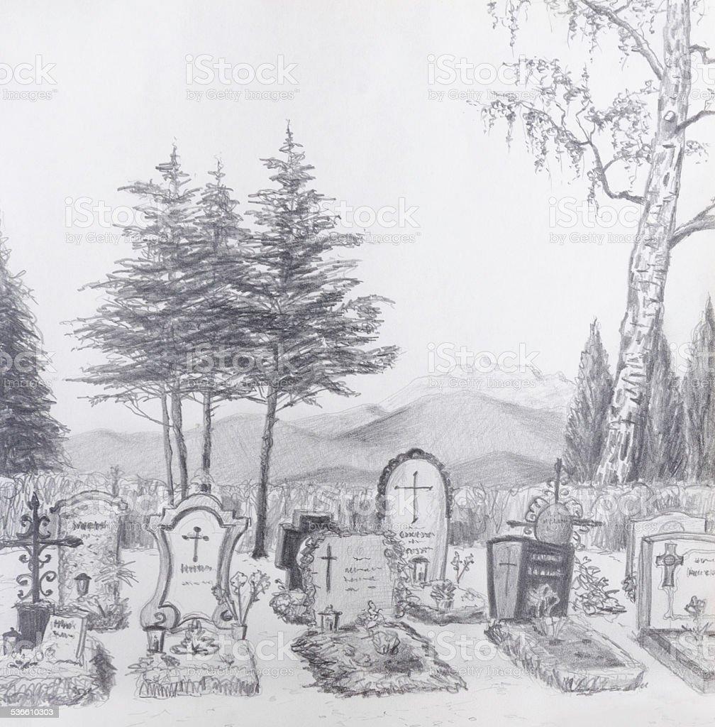 Znalezione obrazy dla zapytania cmentarz szkic