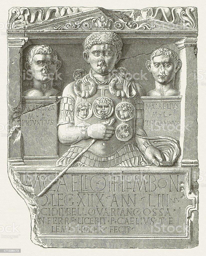 Cenotaph of Marcus Caelius (LVR-Landesmuseum, Bonn), wood engraving, published 1880 vector art illustration