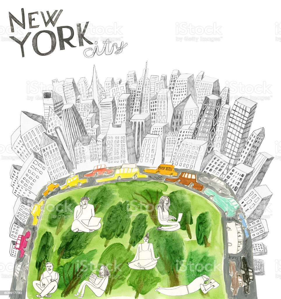 Central Park and New York city collage vector art illustration