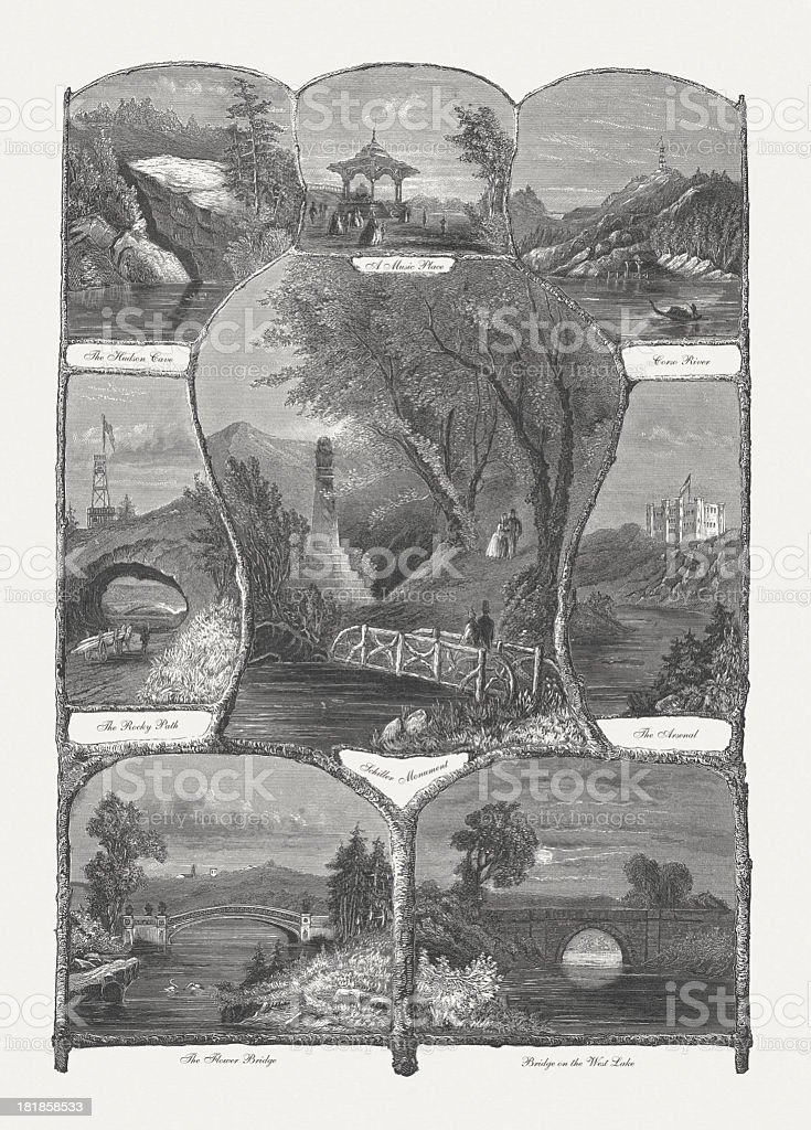 Central Park, New York City, early historical views, published 1864 royalty-free stock vector art