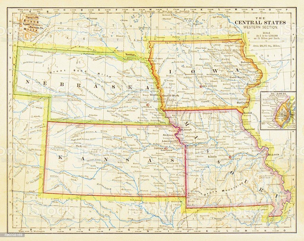 1883 Central States Map vector art illustration