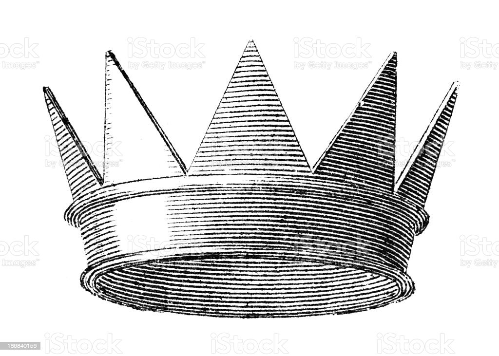 19 century engraving of a pointy royal crown royalty-free stock vector art