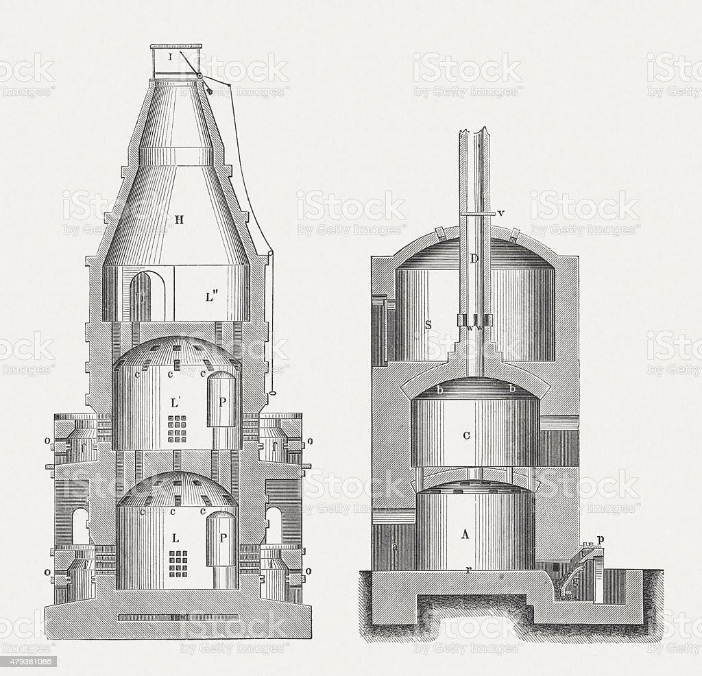 Ceramic furnaces, published in 1878 vector art illustration