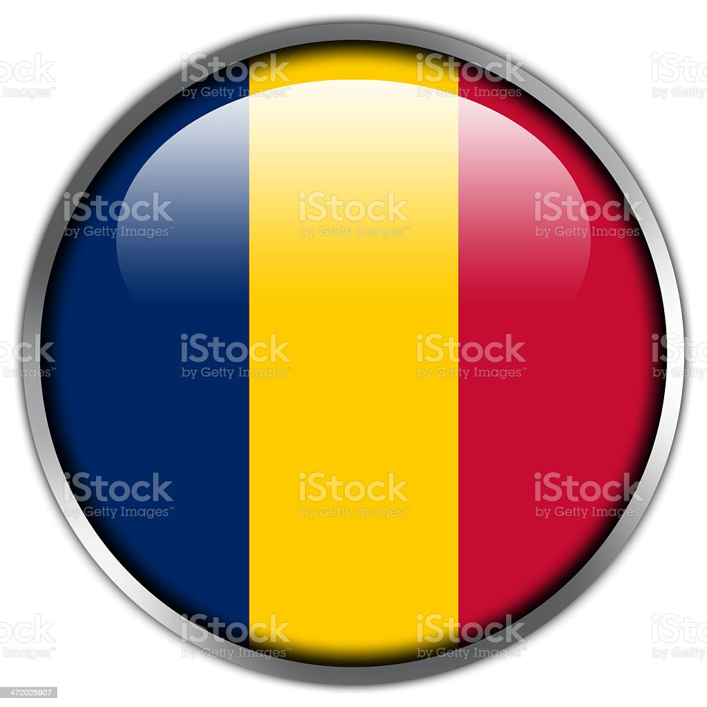 Chad Flag glossy button royalty-free stock vector art