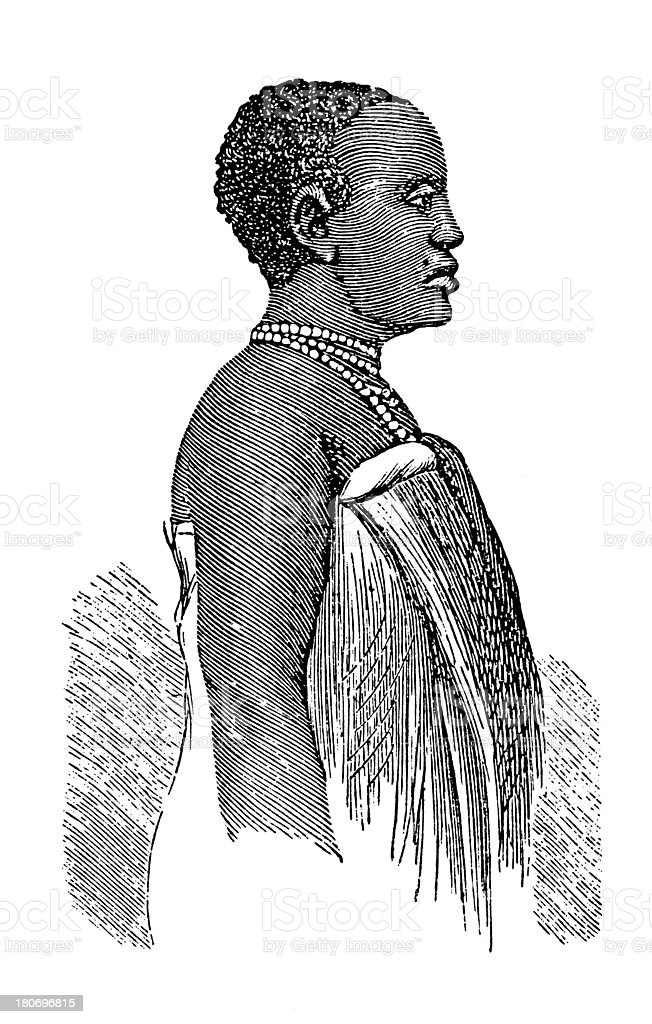 Chaga woman, South Africa (antique wood engraving) royalty-free stock vector art