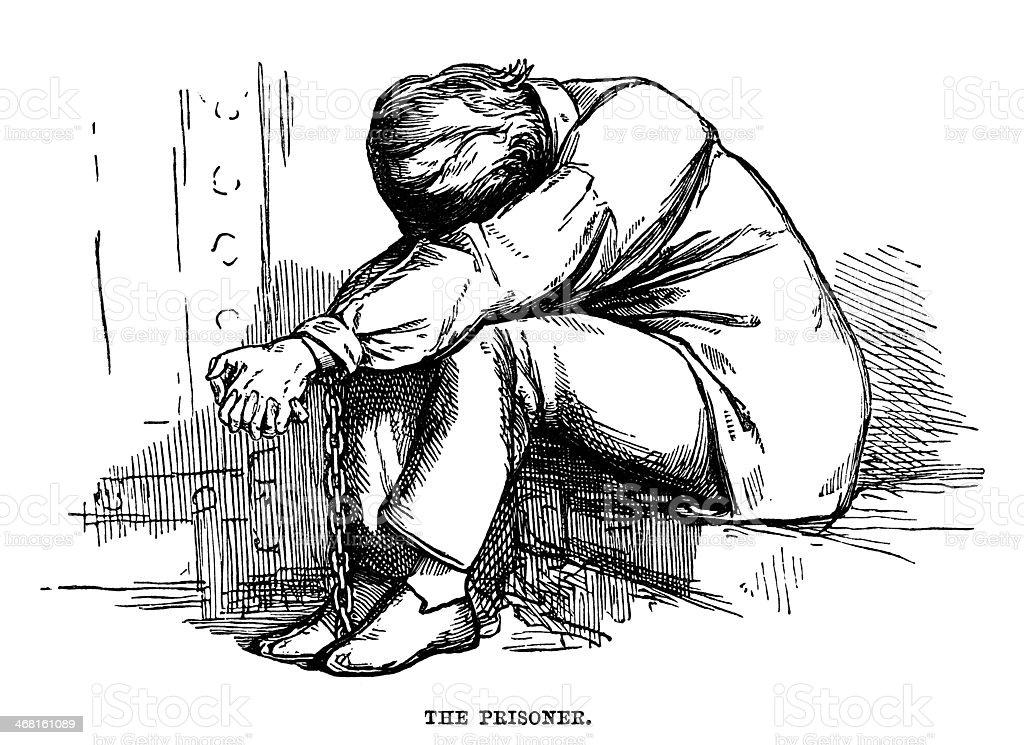 Chained prisoner vector art illustration