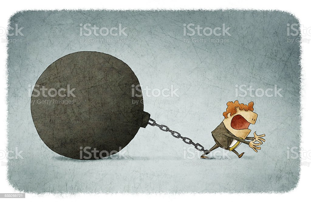 chained to a large ball vector art illustration