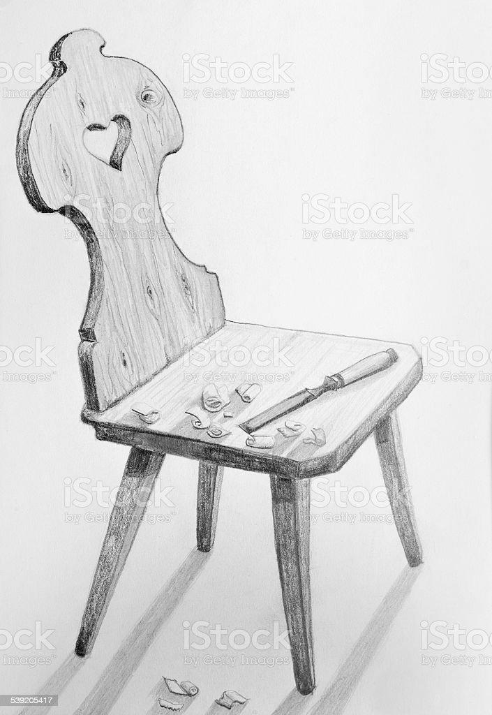 Stuhl bleistiftzeichnung  Stuhl Carpentered Holz Vintage Bleistiftzeichnung Vektor ...