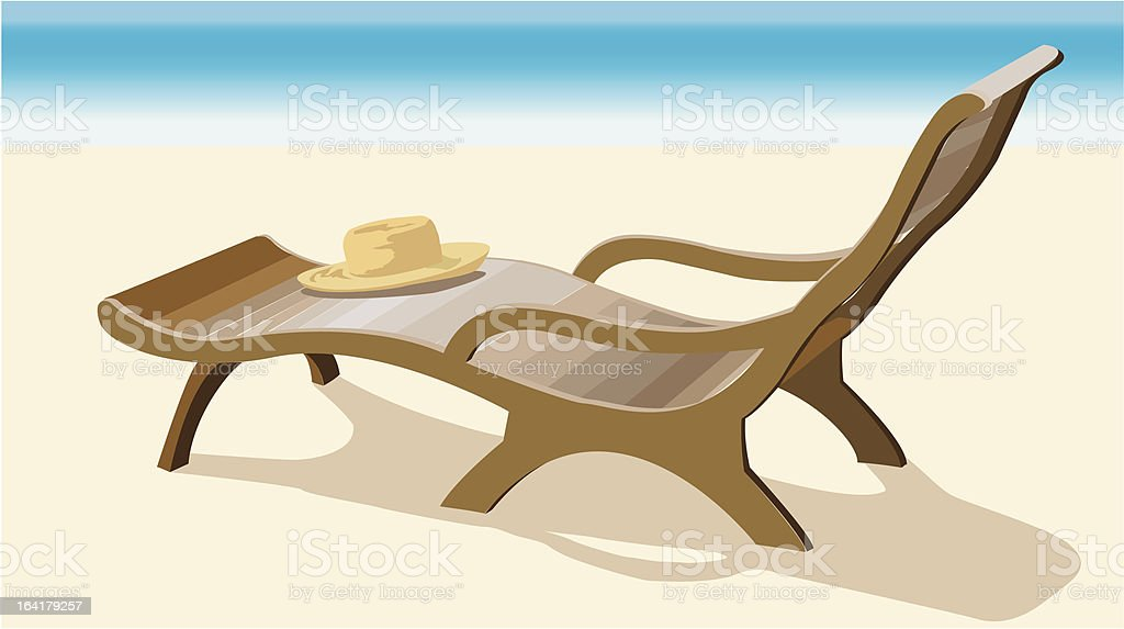 Chaise lounge and straw hat royalty-free stock vector art