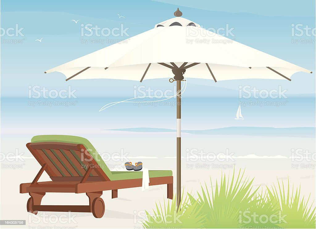 Chaise Lounge at Beach vector art illustration