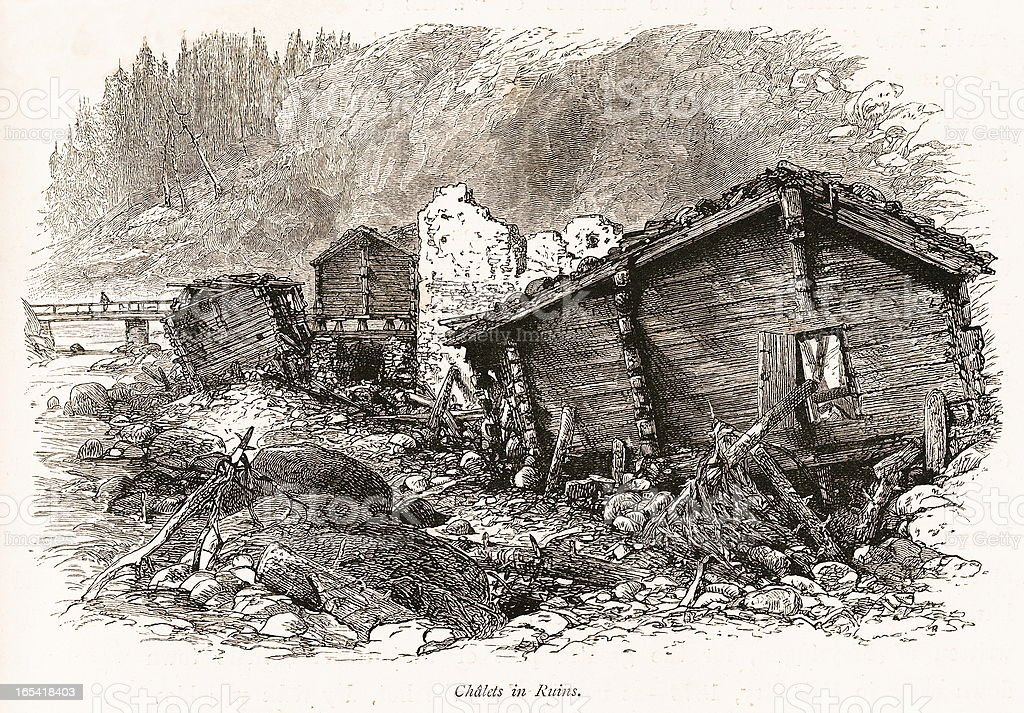 Chalets in ruins, Switzerland (antique wood engraving) royalty-free stock vector art