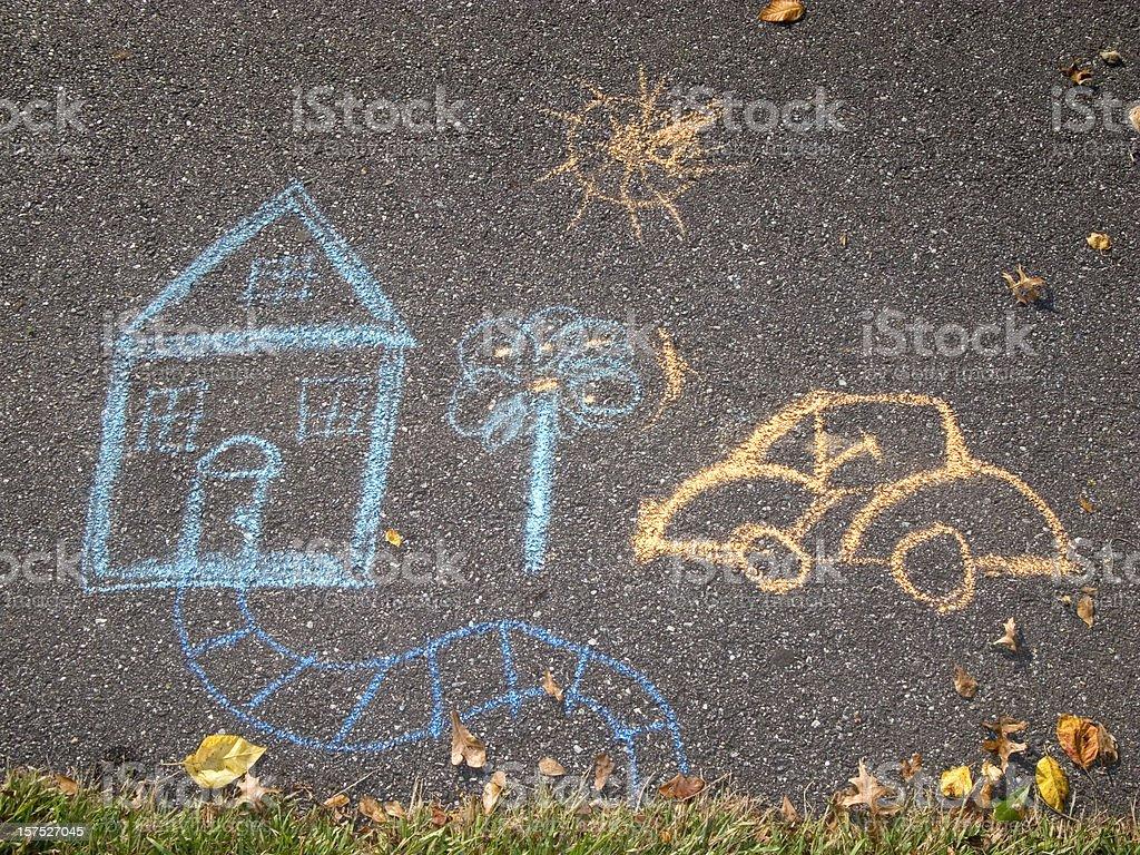 Chalk Drawing, House & Car On Asphalt Sidewalk / Path vector art illustration