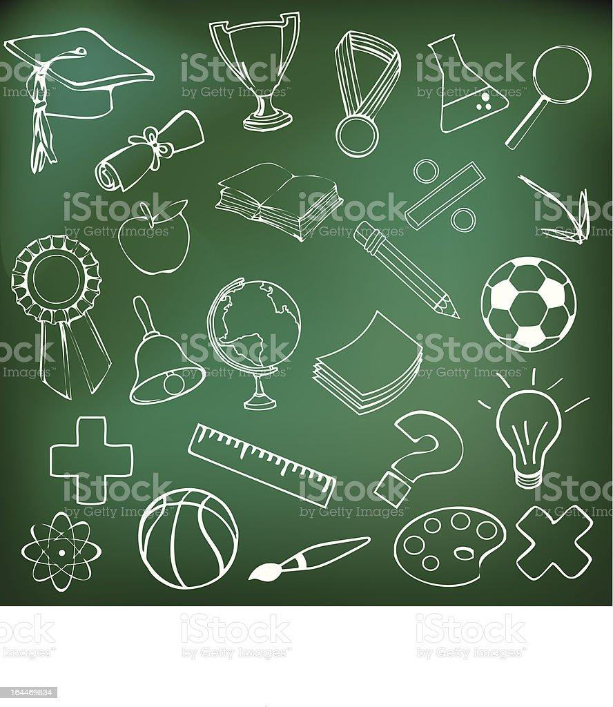 Chalkboard School Doodles vector art illustration