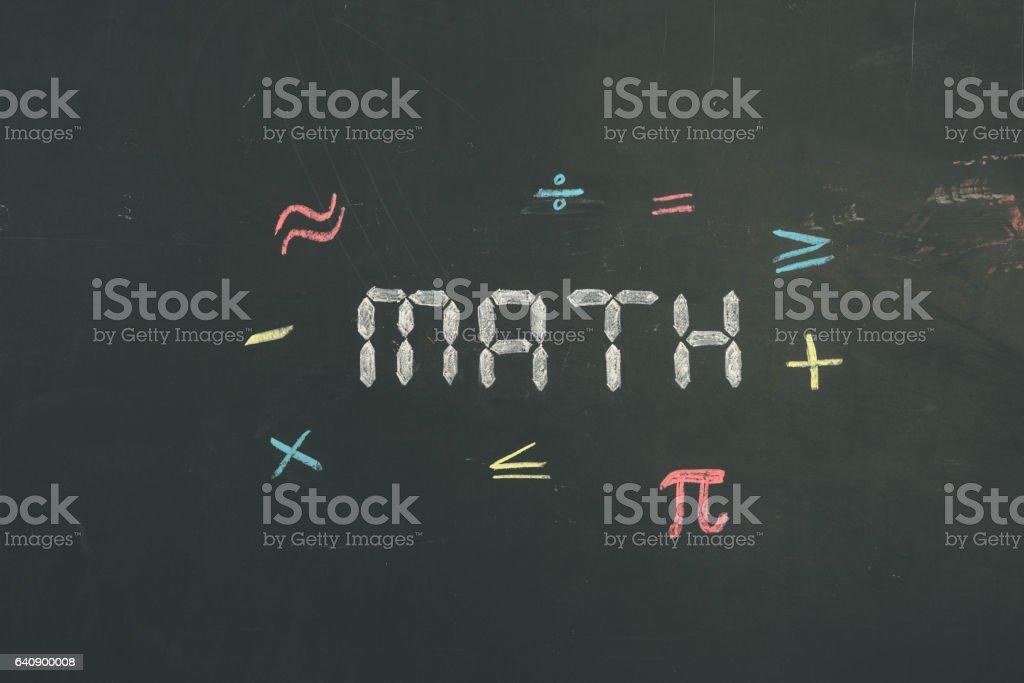 Chalkboard sign letters 'math' vector art illustration
