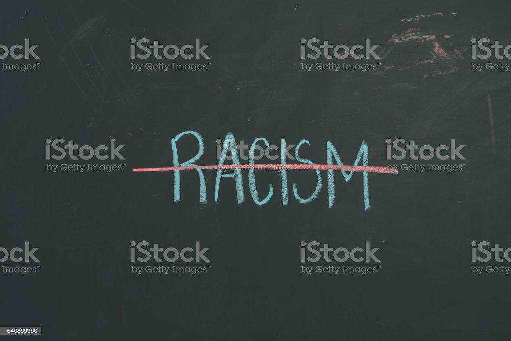 Chalkboard sign letters 'Racism' vector art illustration