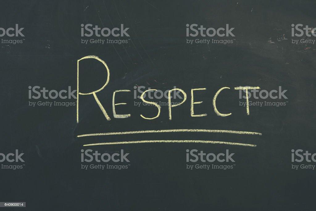 Chalkboard sign letters 'Respect' vector art illustration