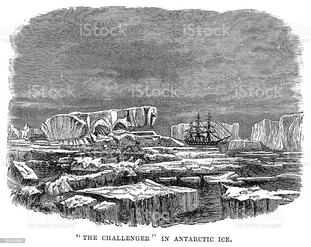 HMS Challenger Antarctic Ice royalty-free stock vector art
