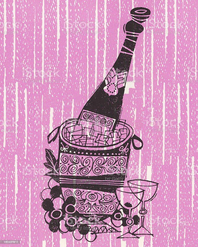 Champagne on Ice vector art illustration