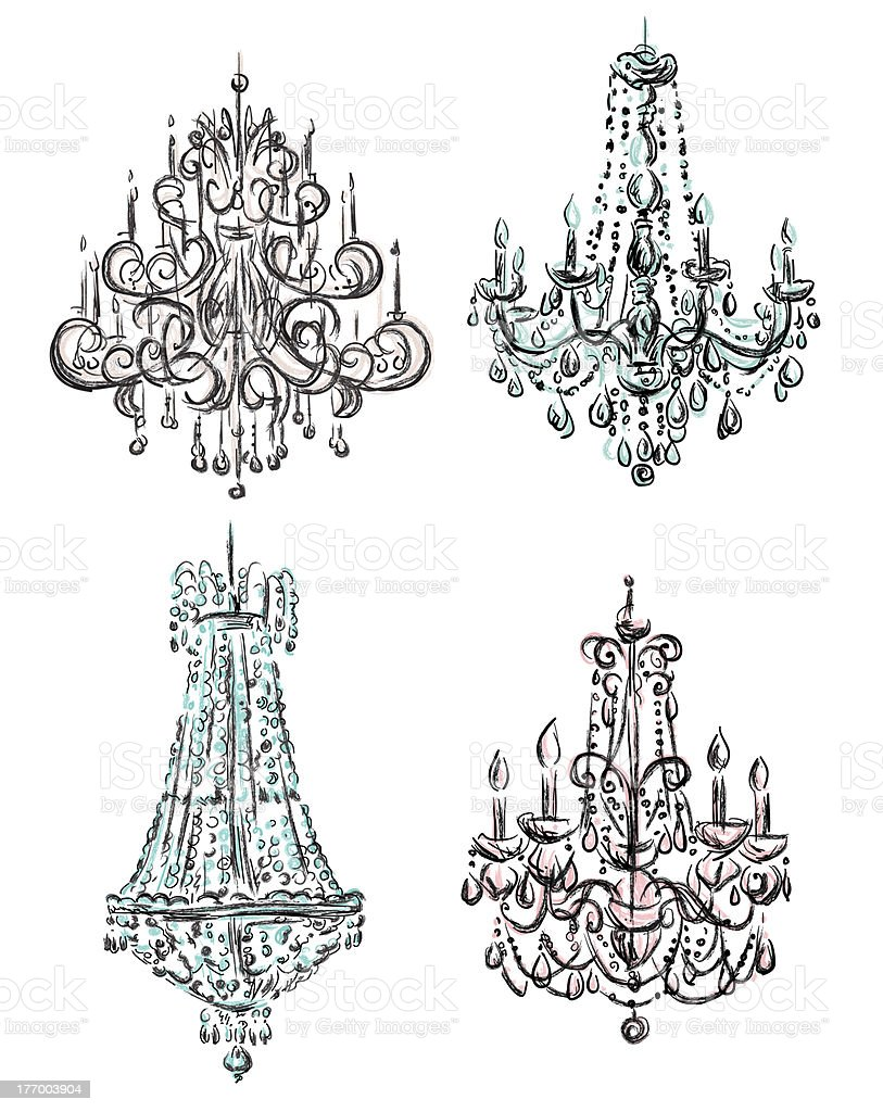 Chandelier  drawing royalty-free stock vector art