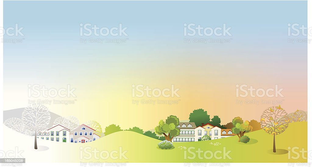 Changing Seasons Landscape royalty-free stock vector art