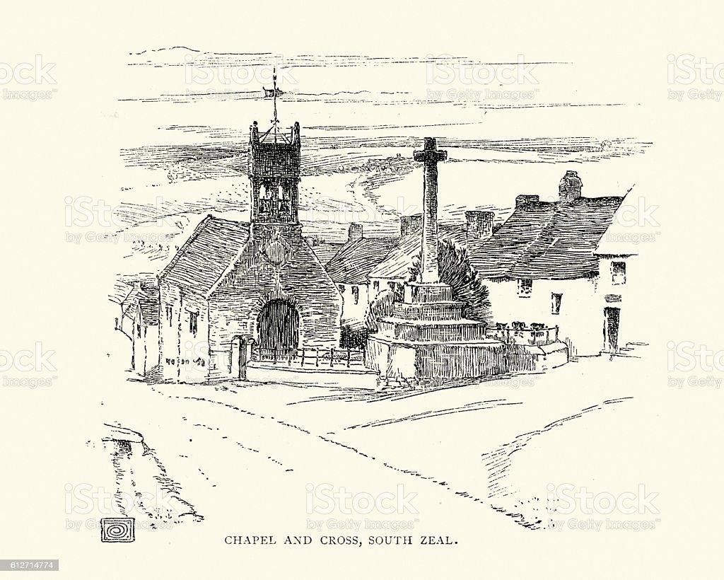 Chapel and Cross, South Zeal,  Dartmoor 19th Century vector art illustration