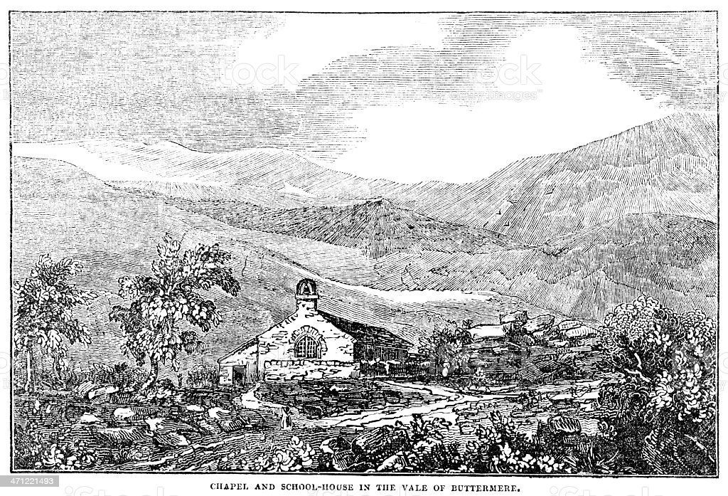 Chapel and school-house in the Vale of Buttermere (1833 illustration) vector art illustration