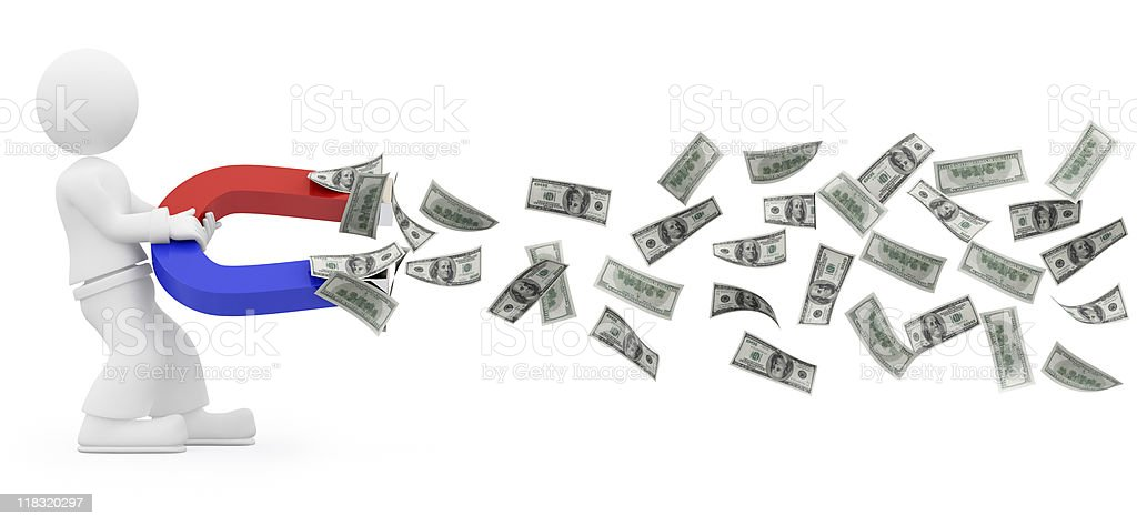 3D character attract money with magnet. vector art illustration