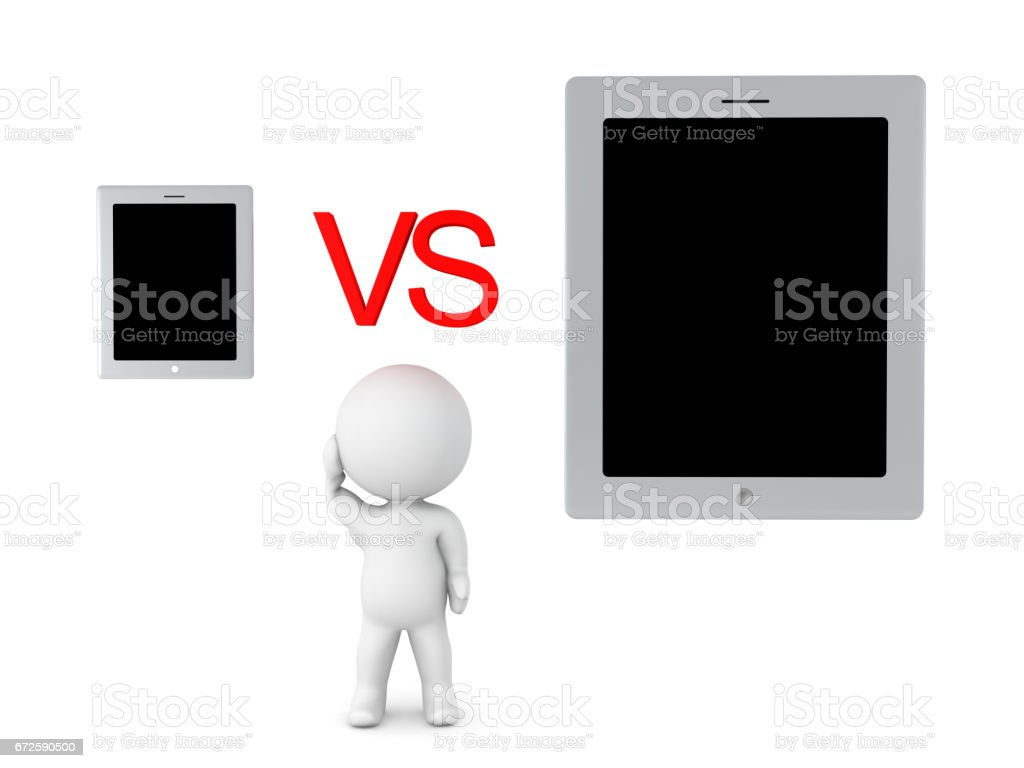 3D Character can't choose between phone or tablet stock photo