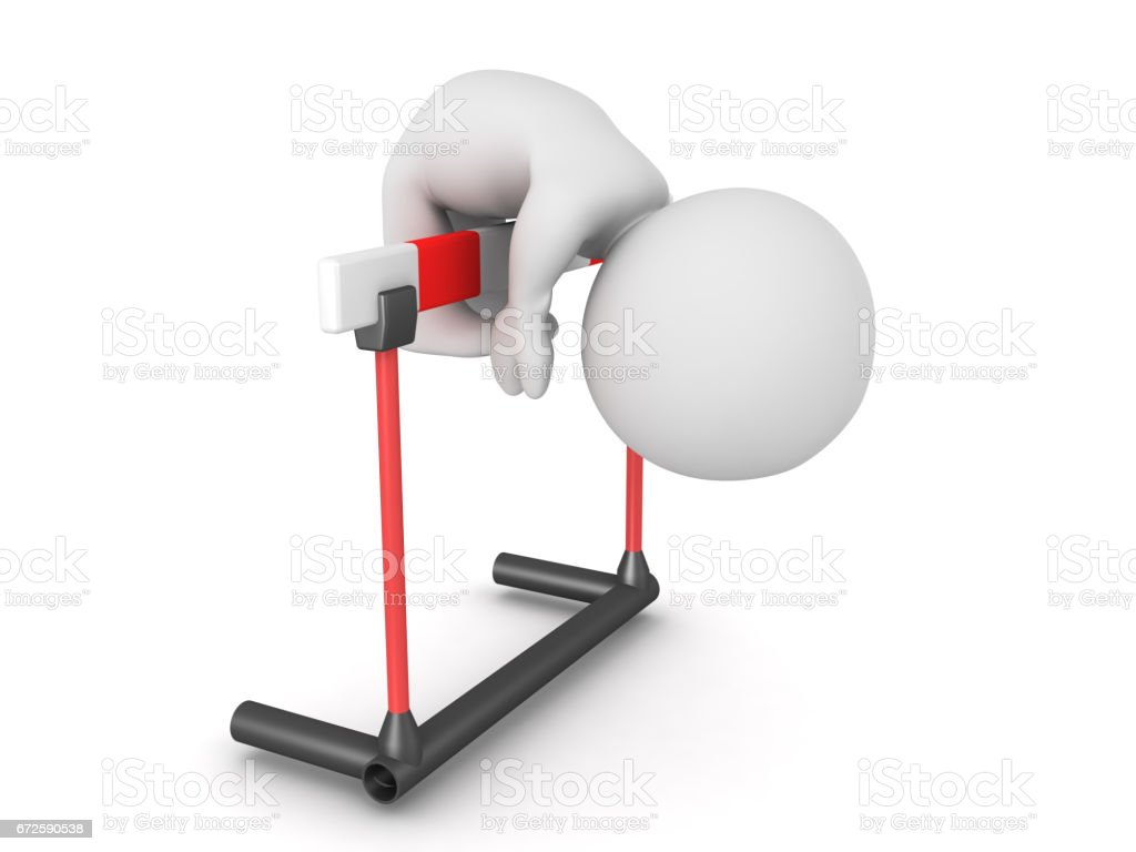 3D Character can't overcome hurdle stock photo
