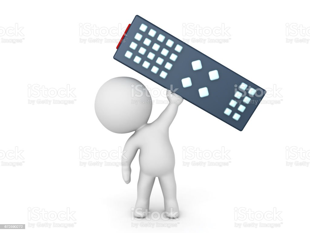 3D Character holding a giant television remote control stock photo