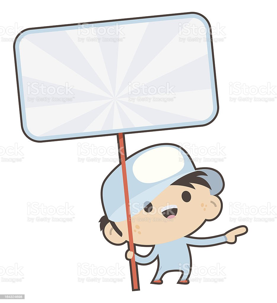 Character Holding a Sign royalty-free stock vector art