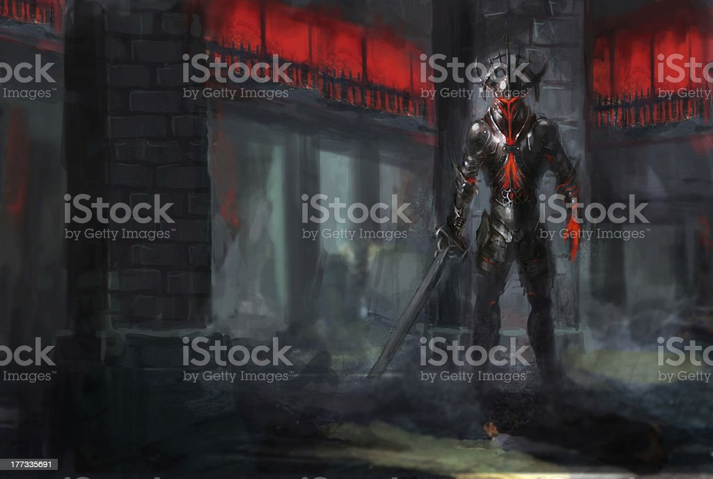 A character holding a sword in a demonic building vector art illustration